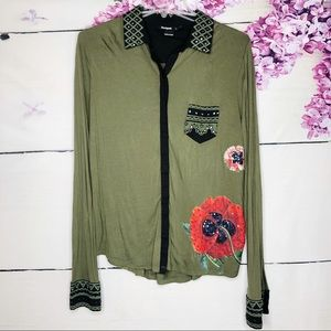 Desigual | Green Button Up Blouse